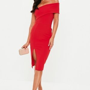 One shoulder red body con dress!